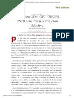 Convenios OIM, OEI, UNOPS, PNUD Encubren Corrupción Delictiva, Por Guillermo Olivera Díaz