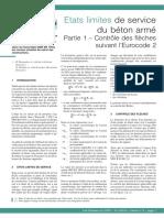 Etats Limites de Service Du Béton Armé. Partie 1 - Contrôle Des Flèches Suivant l'Eurocode 2