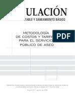 Metodologia de Costos y Tarifas Para El Servicio de Aseo