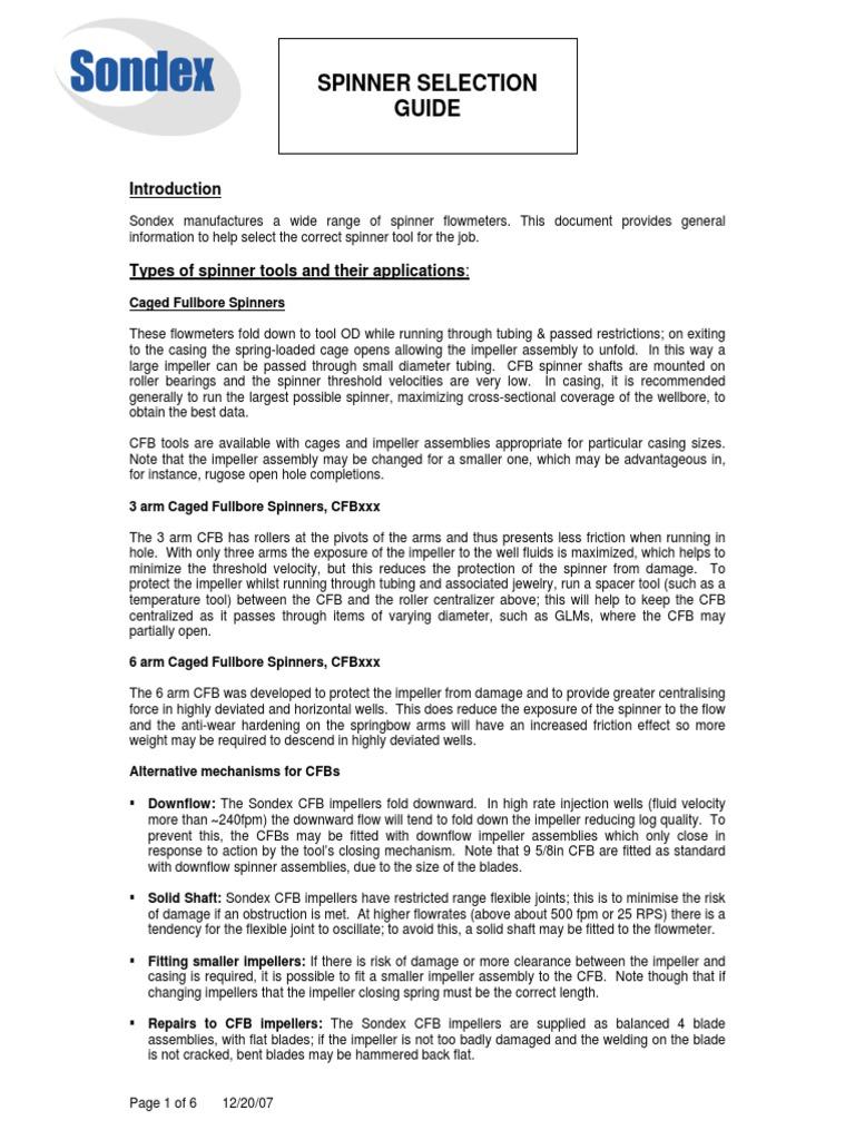 Sondex Spinner Selection Guide | Flow Measurement | Fluid