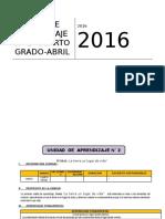 UNIDAD DE APRENDIZAJE 4° GRADO ED. PRIMARIA MES DE ABRIL 2016