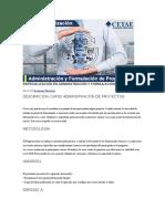 Especialización en Administración y Formulación de Proyectos