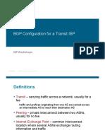 BGP Configuration for a Transit ISP