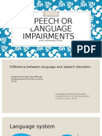 speach and language imparements