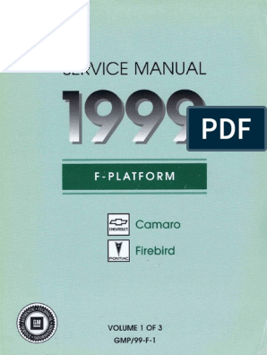 1999 Chevrolet Camaro Pontiac Firebird Service Manual Volume 1 Nut Hardware Screw
