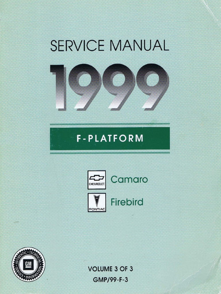 1999 Chevrolet Camaro Pontiac Firebird Service Manual Volume 3 Printed Circuit Board For Instrument Cluster With Warning Transmission Mechanics