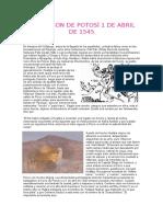 Fundacion de Potosí 1 de Abril de 1545