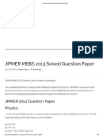 JIPMER MBBS 2013 Solved Question Paper