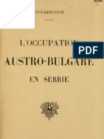 L'Occupation Austro-Bulgare en Serbie (1918.) - Mileta Novakovitch