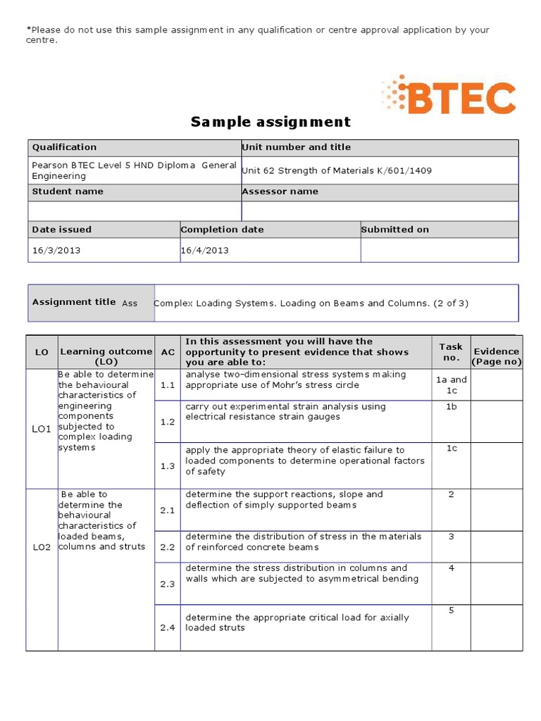 Pearson btec level 5 hnd diploma in engineering sample assignment pearson btec level 5 hnd diploma in engineering sample assignment beam structure bending alramifo Image collections