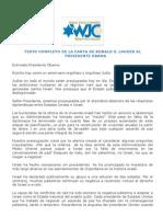 CARTA DE RONALD S. LAUDER AL PRESIDENTE OBAMA