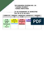 Calendario Exámenes 4 Bim