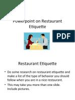 Powerpoint on Restaurant Etiquette
