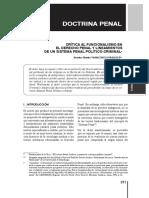 Crítica al funcionalismo en el Derecho Penal y lineamientos de un Sistema Penal político-criminal
