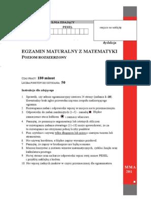 Egzamin Maturalny Z Matematyki: 180 minut 50