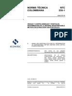 NTC 235-1 Grasas y Aceites Vegetales y Animales. Determinación de La Materia Insaponificable. Método de Extracción Con Éter Etílico