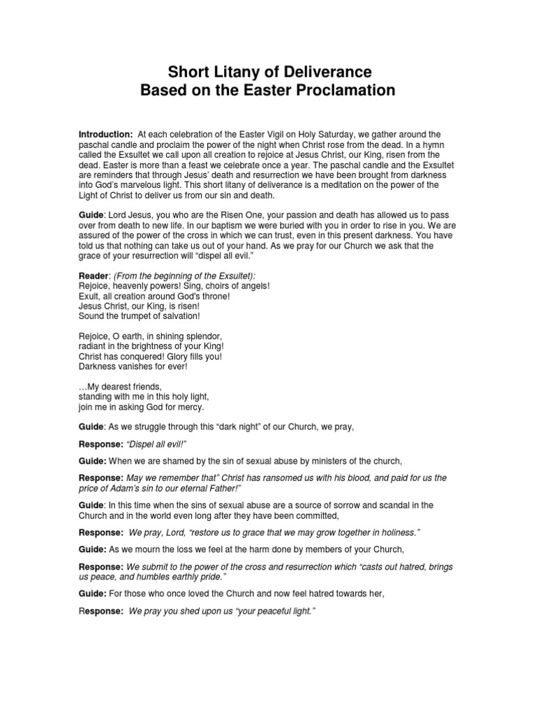 graphic regarding Litany of Humility Printable referred to as A Shorter Litany of Deliverance Easter Catholic Liturgy