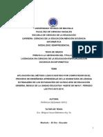 """APLICACIÓN DEL MÉTODO LÚDICO ASISTIDO POR COMPUTADOR EN EL PROCESO DE ENSEÑANZA APRENDIZAJE DE LA ASIGNATURA DE LENGUA EXTRANJERA DE LOS ESTUDIANTES DE OCTAVO AÑO DE EDUCACIÓN GENERAL BÁSICA DE LA UNIDAD EDUCATIVA """"NUEVE DE MAYO"""", PERIODO LECTIVO 2013-2014"""