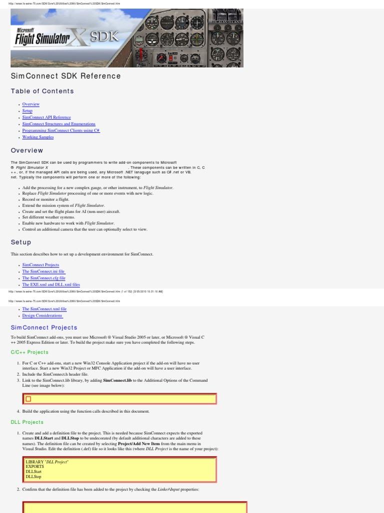 FSX - Sim Connect - SDK Documentation | I Pv6 | Library (Computing)