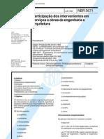 NBR 05671 - (NB 578) - Participacao Dos Intervenientes Em Servicos e Obras de Engenharia e Arquitetura