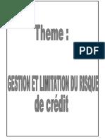 Gestion Et Limitation Du Risque de Crédit