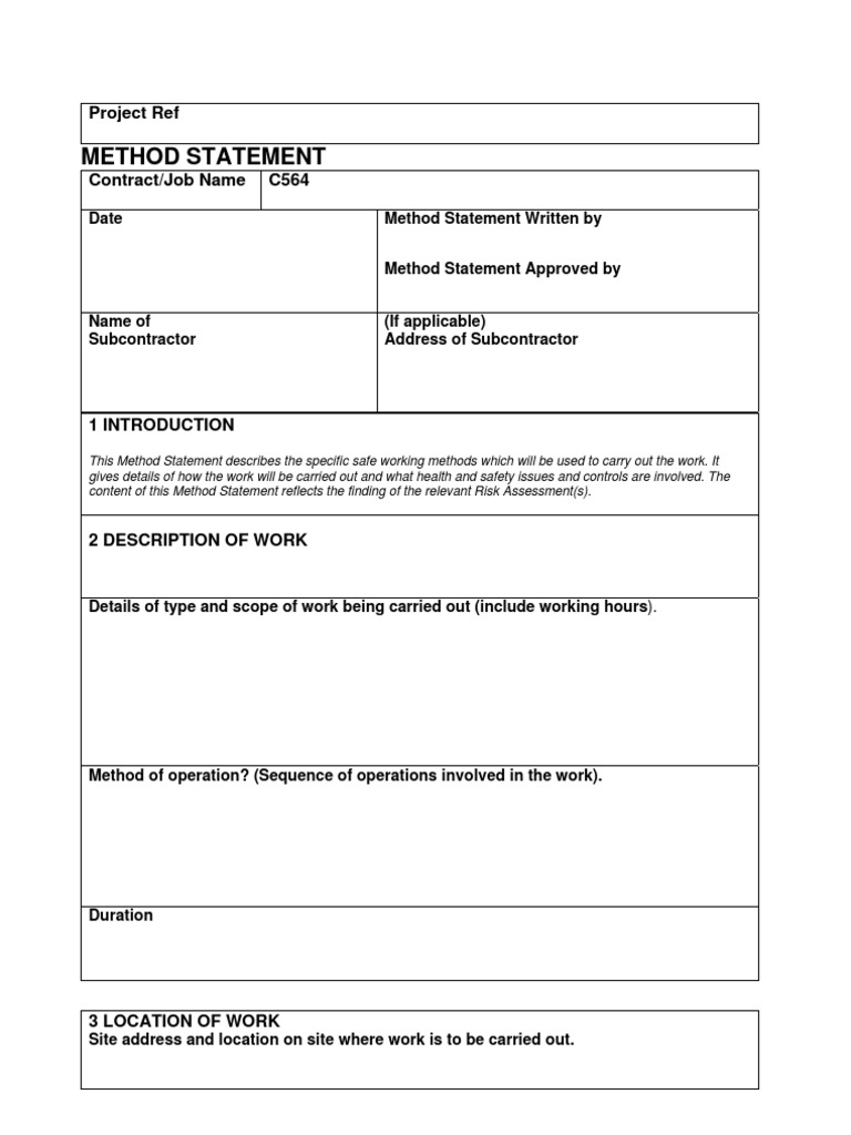 Health And Safety Method Statement Template Fiveoutsiderscom