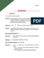 Cours mathématiques spécialité Ts matrices