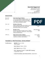 aanchal resume by elizabeth