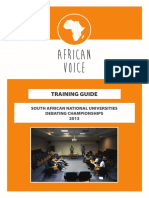 Sanu Debating Championships 2013 Training Guide by African Voice