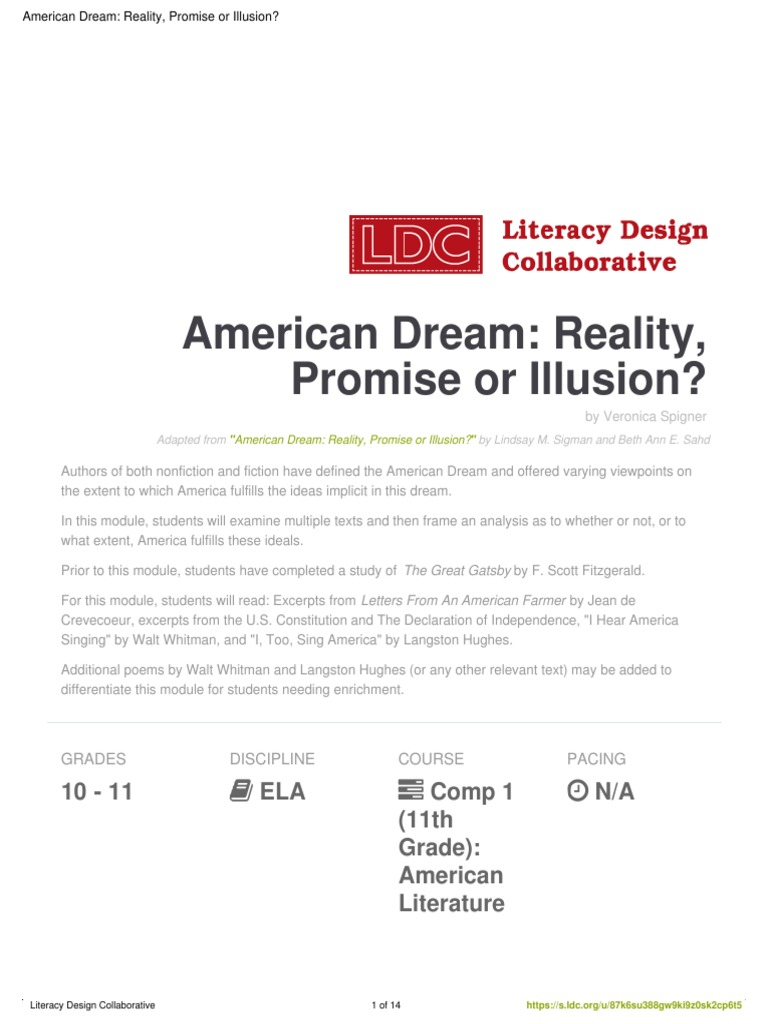 american dream reality promise or illusion | Reading Comprehension |  Reading (Process)