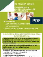 Consejeria en Anticoncepción y Anticoncepción Oral de Emergencia