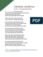 Lirik Lagu Kanak