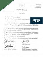 Letter from Governor Robert Bentley et al. to Members of the Alabama Legislature (Mar. 22, 2016)