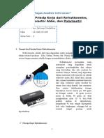 Tugas Analisis Instrummen Fungsi Dan Prinsip Kerja Dari Refraktometer, Refraktometer Abbe Dan Polarimeter