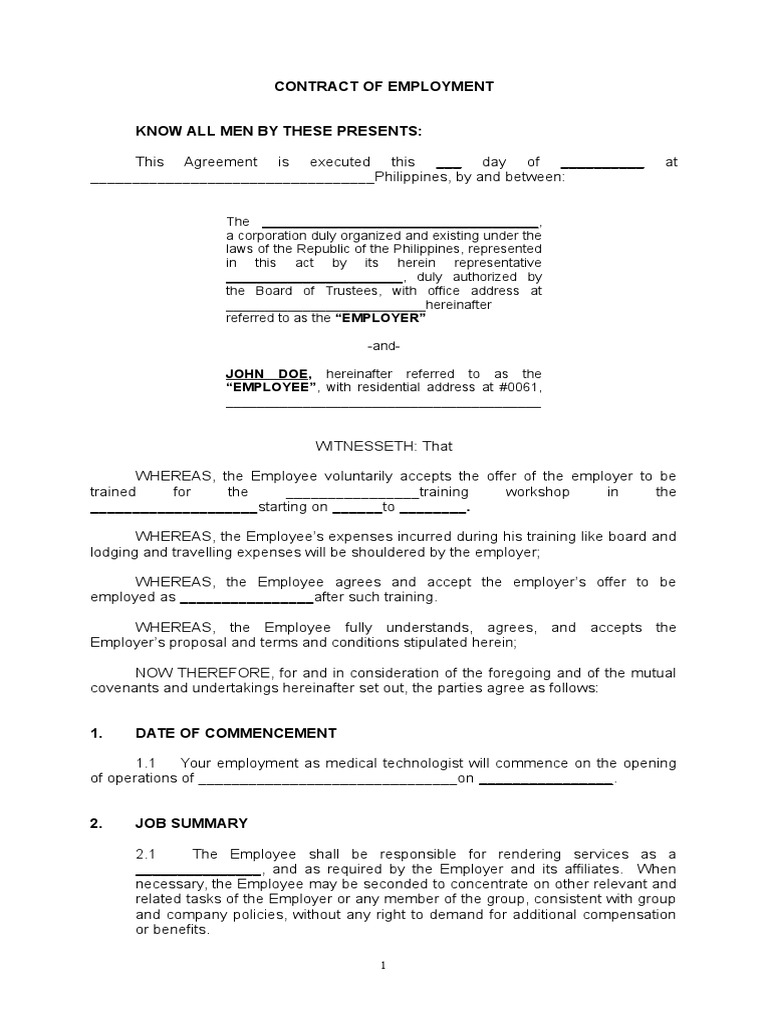 Sample Training Contract Of Agreement | Liquidated Damages | Confidentiality