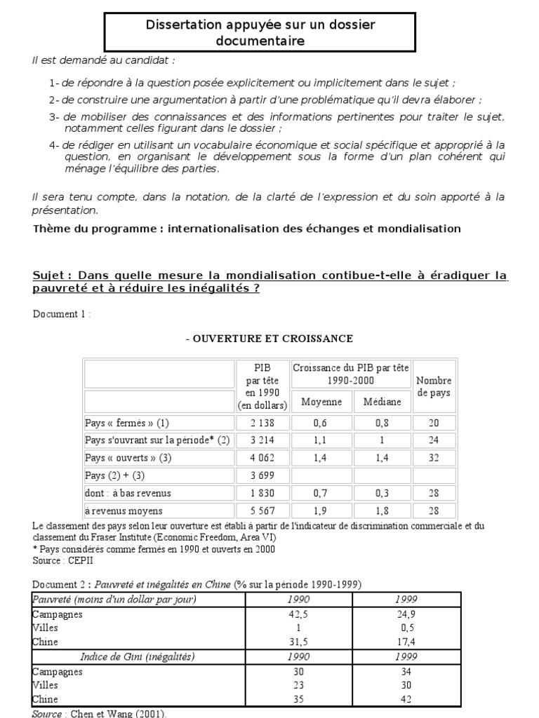 dissertation internationalisation des échanges et mondialisation