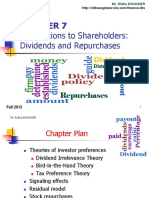 Distributions to Shareholders Dividends and Repurchases