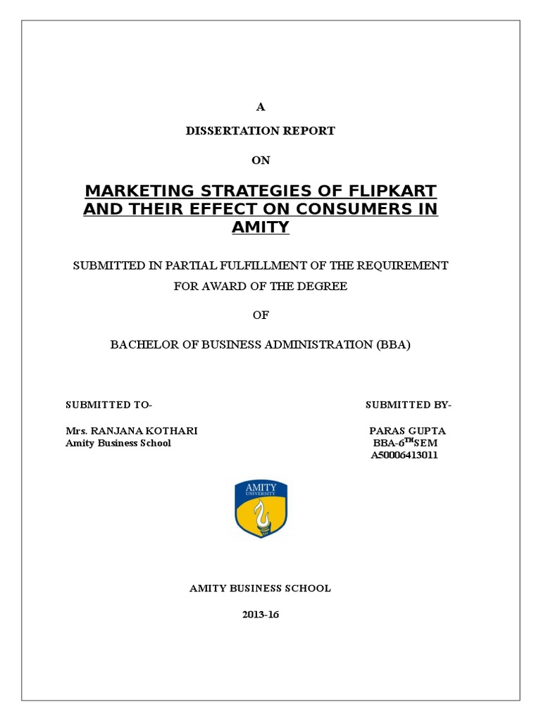 Dissertation in marketing reports