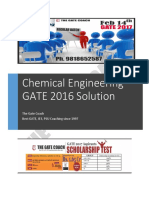Chemical Engineering GATE 2016 Solution