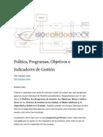 Política Programas Objetivos Indicadores Sistema de Gestión