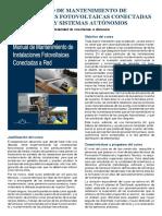 Curso de Mantenimiento de Instalaciones Fotovoltaicas Conectadas a La Red y Sistemas Autónomos(a Distancia)
