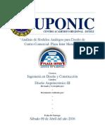 Análisis de Modelos Análogos para diseño de Centro Comercial