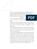 Excusa de Incomparecencia a Audiencia de Juicio Oral