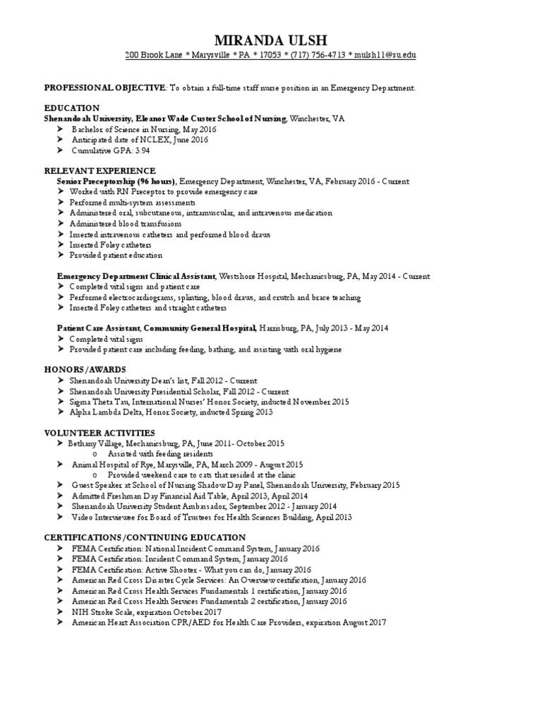 Resume For Eportfolio Emergency Department Nursing