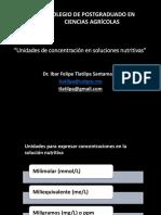 1. Unidades de Concentración en Soluciones Nutritivas