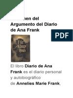 Resumen Del Argumento Del Diario de Ana Frank