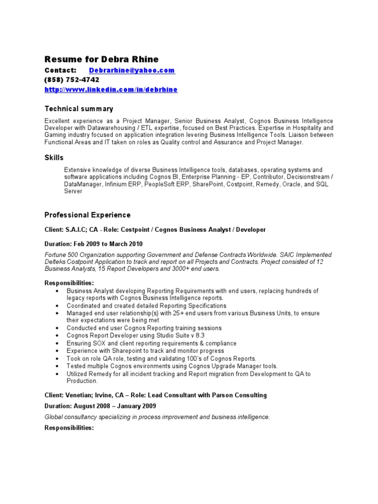 Superior Debbie Rhine Resume | Enterprise Resource Planning | Business Intelligence
