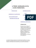 Riesgos Medio Ambientales de Los Aceites Industriales