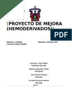 Proyecto de Mejora para la transfusion de hemoderivados