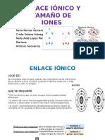 Enlace ionico y tamaño de iones